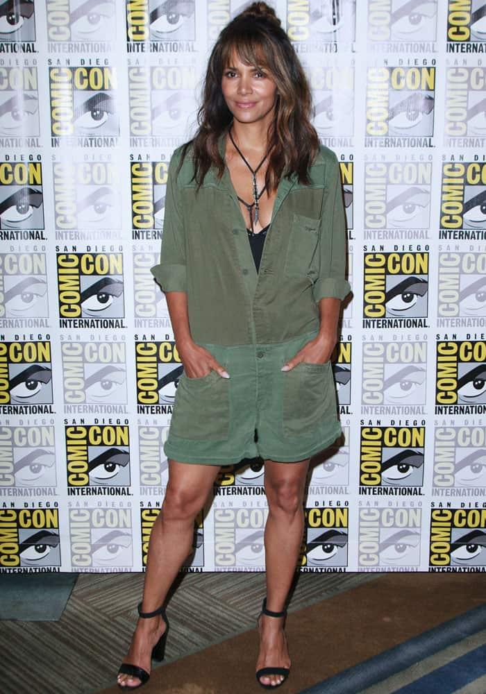 Halle Berry looked youthful in an army green romper by Hudson