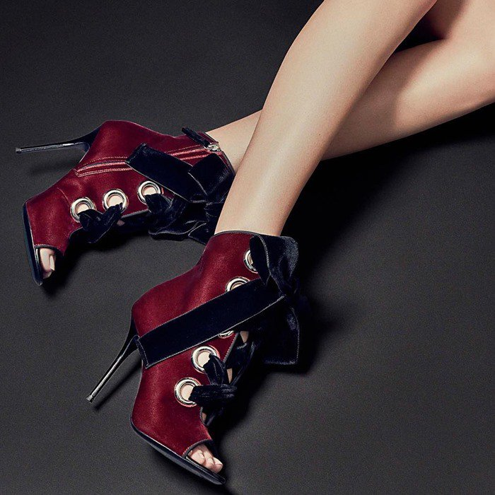 JEANNINE burgundy bootie with contrast black velvet laces