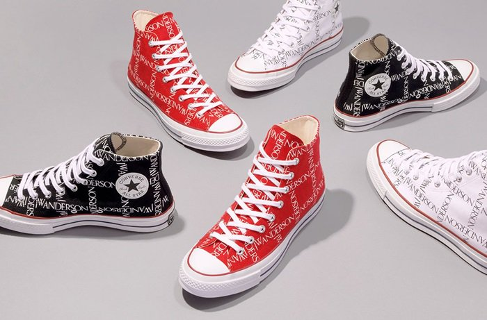 JW ANDERSON x Converse Chuck 70 logo-print sneakers black red white