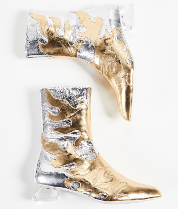 A gold and silver flame design finished off with a chunky transparent block heel makes them a head-turning, show-stopping pair of shoes