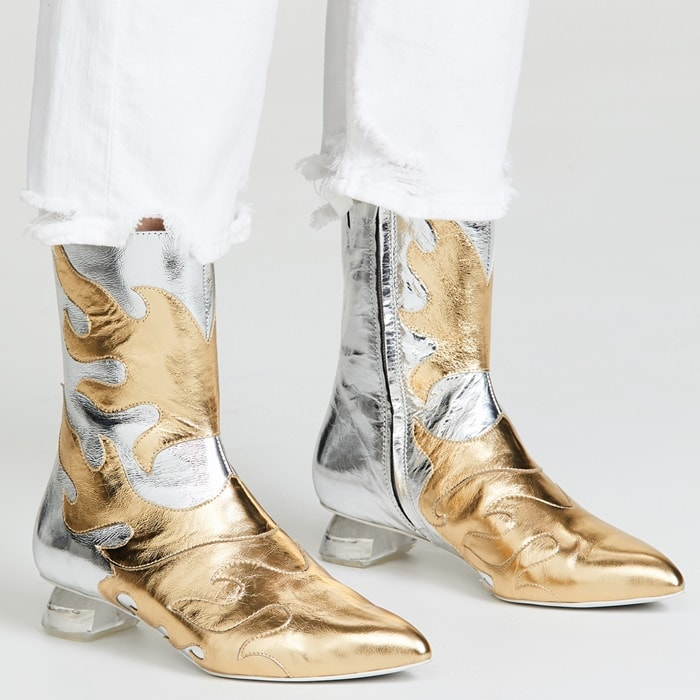 Biker style feels fresh and feminine with these metallic booties from Jeffrey Campbell