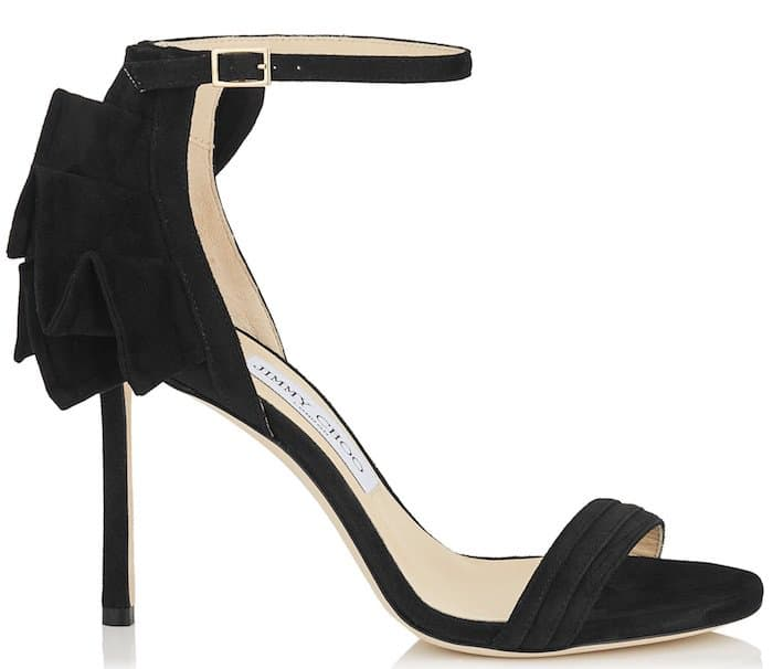 Jimmy Choo Kerry pleated sandals in black suede