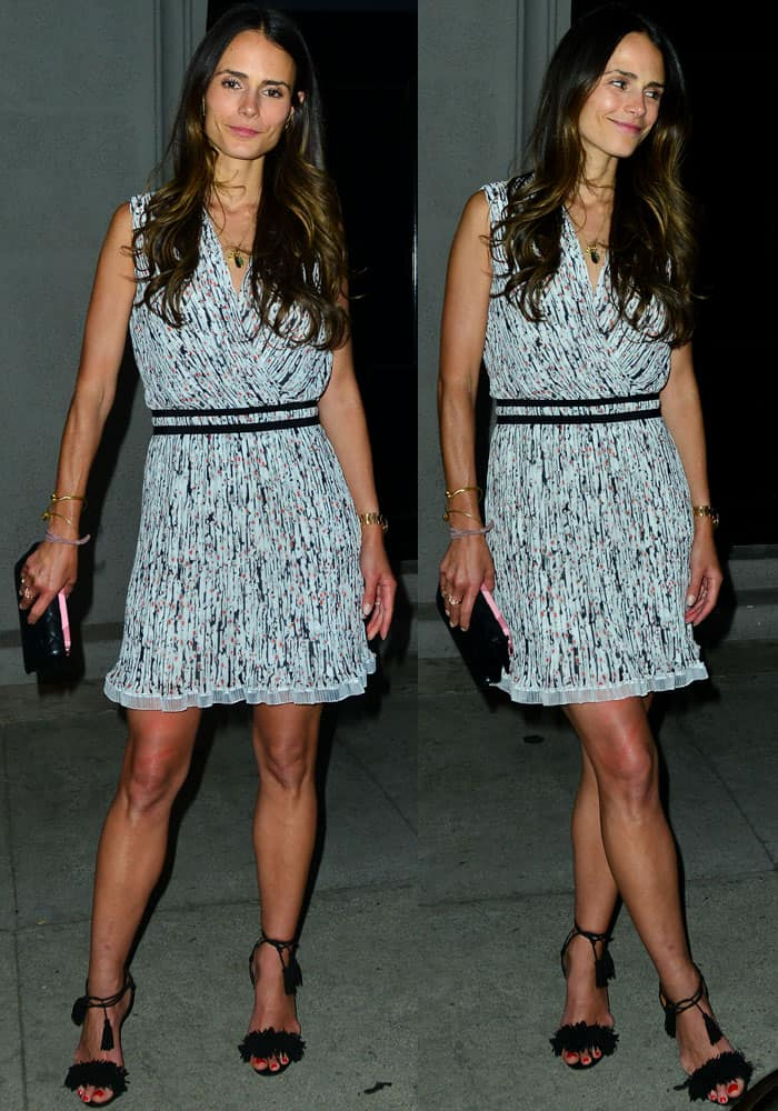Jordana wore a speckle-print short dress for her date night with the husband