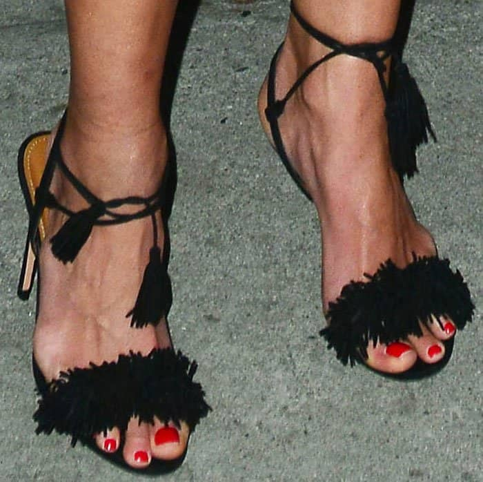 """Jordana inserted a bit of fun into her look with the fringed Aquazzura """"Wild Thing"""" sandals"""