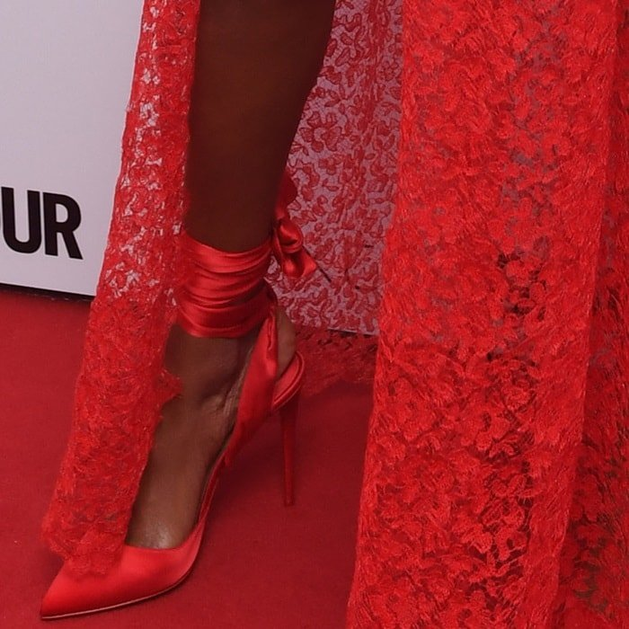 "Jourdan Dunn wearing Christian Louboutin's ""Douce Du Desert"" pumps"