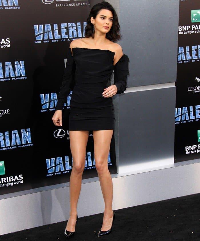 Kendall Jenner Short Dress: Kendall Jenner Flaunts Legs In Black Carmen March Mini Dress