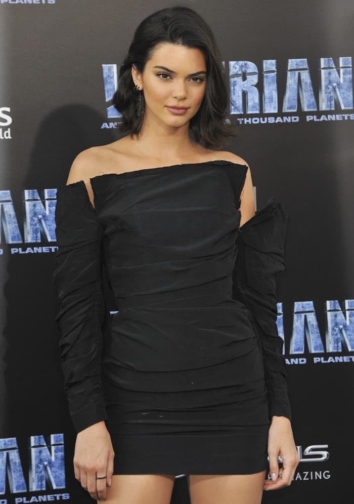 Kendall Jenner wearing a thigh-grazing mini dress and black patent pointy-toe pumps at the premiere of 'Valerian and the City of a Thousand Planets' at TCL Chinese Theatre in Hollywood on July 17, 2017