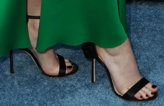 Maisie Williams paired her dress with Jimmy Choo hand-pleated Kerry sandals