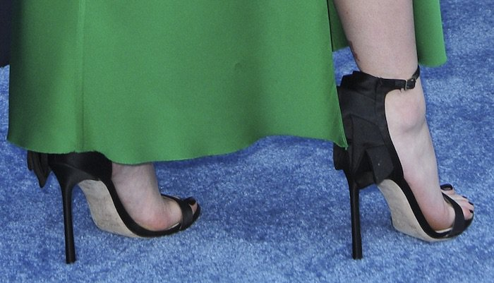 "Maisie Williams her dress with Jimmy Choo pleated ""Kerry"" sandals"