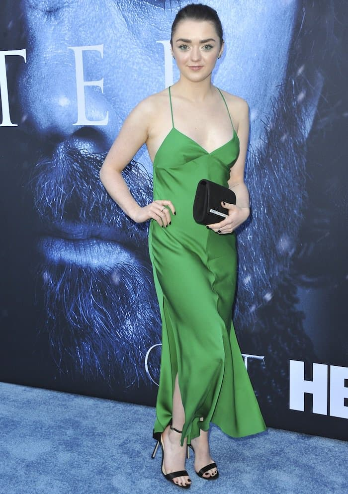 "Maisie Williams in a green Milly dress for the ""Game of Thrones"" Season 7 premiere"