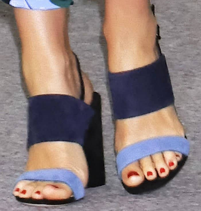 "Miranda matched her pants with a gorgeous pair of color block Salvatore Ferragamo ""Elba"" sandals"