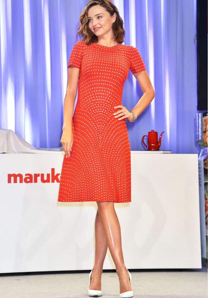 Miranda stuns in an Alaïa microdot dress