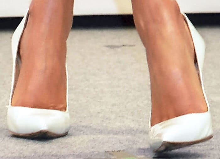 "Miranda pairs her dainty look with the Manolo Blahnik ""BB"" pumps in white leather"