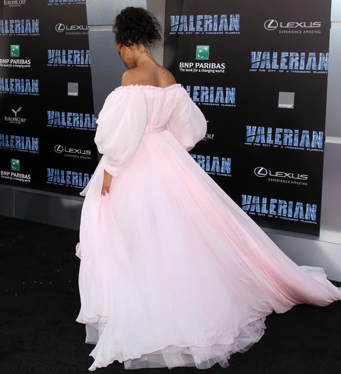 Rihanna wearing a pink off-the-shoulder gown at the premiere of 'Valerian and the City of a Thousand Planets' at TCL Chinese Theatre in Hollywood on July 17, 2017