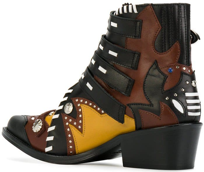 Multicoloured Leather Buckle Strap Ankle Toga Pulla Boots