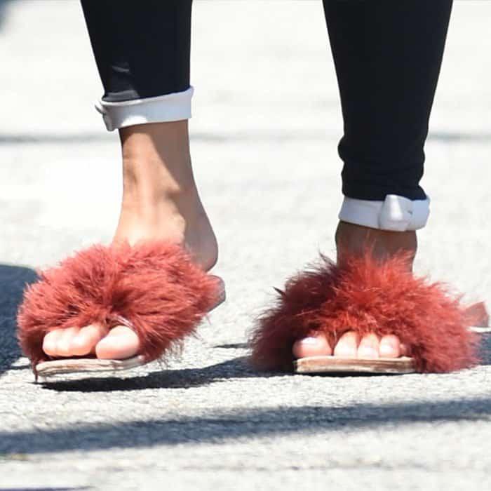 "Vanessa Hudgens wears Brother Vellies ""Marabou Lamu"" slide slippers"