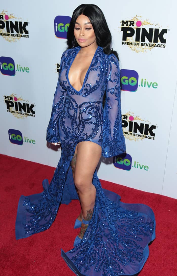 Blac Chyna wearing a sparkling blue gown at the launch event for iGo.Live at the Beverly Wilshire Hotel in Beverly Hills, California, on July 26, 2017