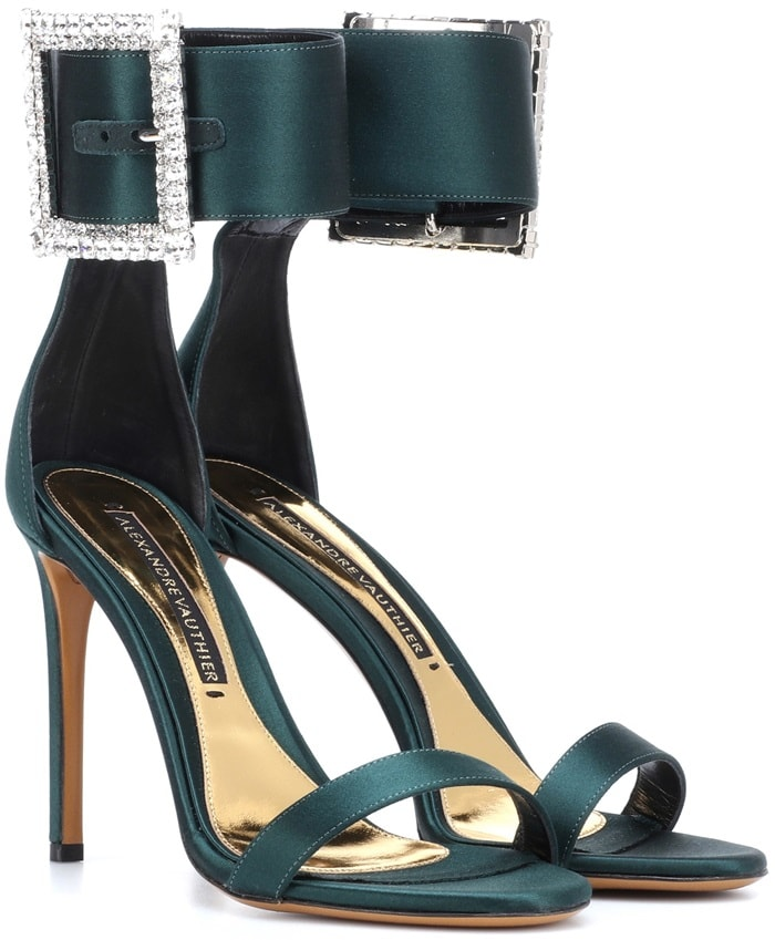 Alexandre Vauthier's enchanting Yasmin sandals are rendered in an opulent emerald green hue
