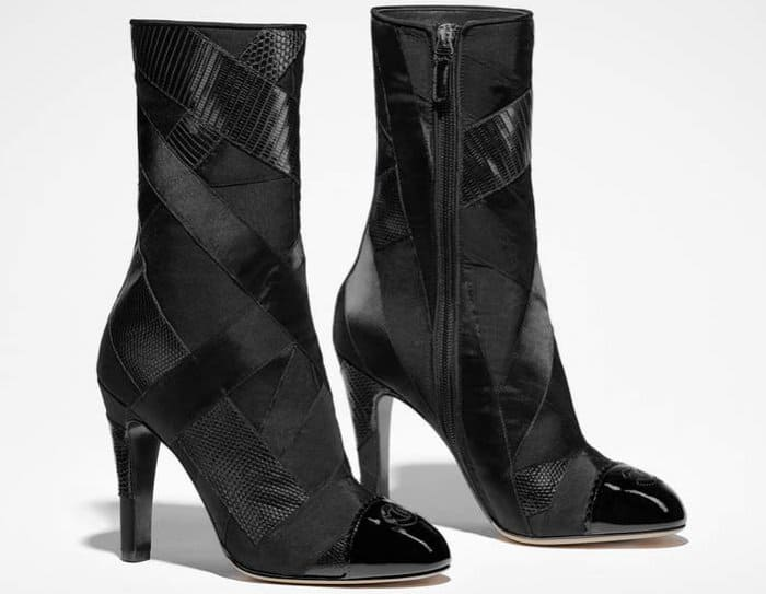 Chanel ankle boots in iguana patchwork