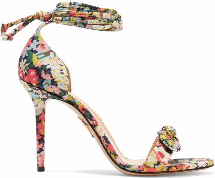 """Charlotte Olympia """"Shelley"""" bow-embellished printed cotton sandals"""