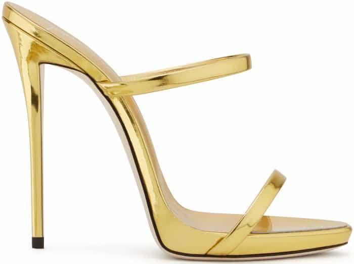 "Giuseppe Zanotti ""Darsey"" sandals in gold mirrored patent leather"