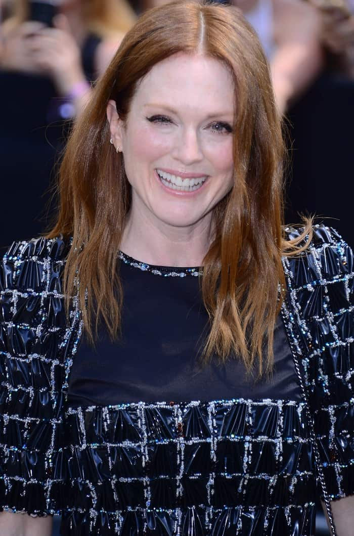 Julianne Moore at the Chanel Fall/Winter 2017 runway presentation during Paris Haute Couture Fashion Week