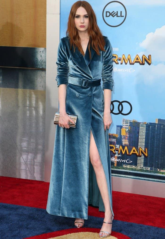 "Karen Gillan wearing a blue Self-Portrait Fall 2017 velvet dress and Giuseppe Zanotti ""Darsey"" sandals at the ""Spider-Man: Homecoming"" LA premiere"