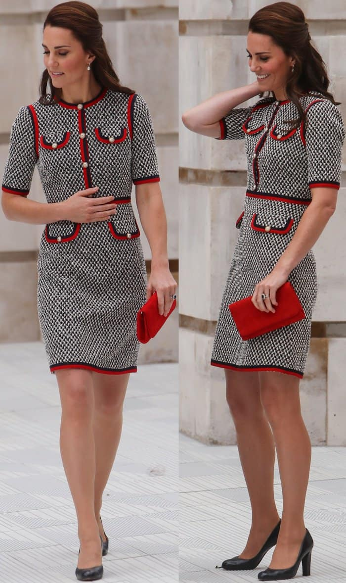 """Kate Middleton wearing a Gucci Pre-Fall 2017 dress and L.K. Bennett """"Art"""" pumps at the Victoria and Albert Museum"""
