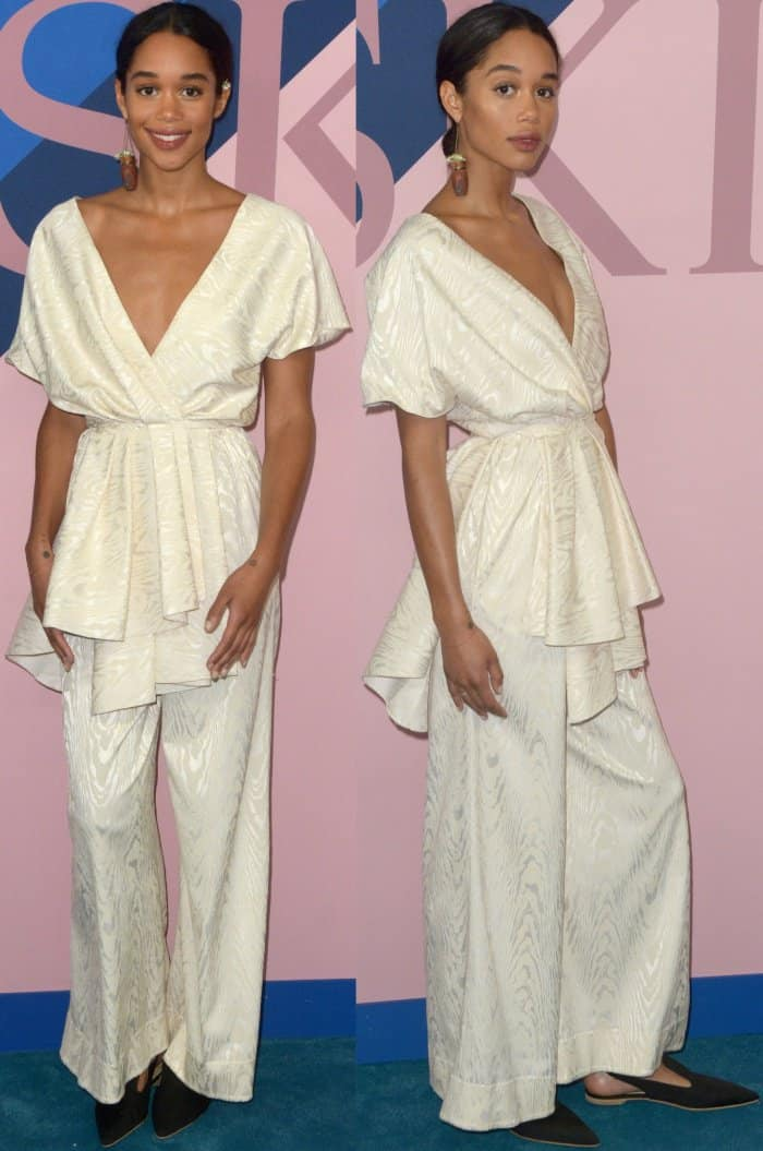 Laura Harrier wearing a white Rosie Assoulin Fall 2017 ensemble and black pointy-toe shoes at the 2017 CFDA Fashion Awards