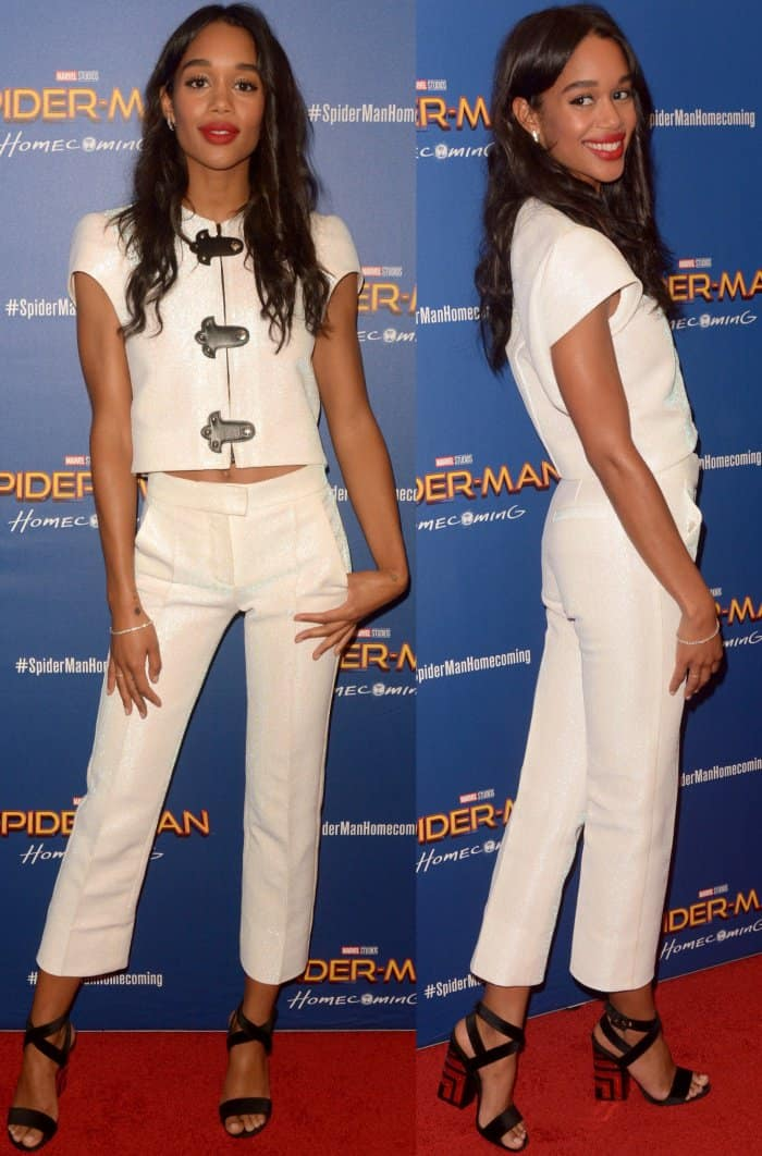 """Laura Harrier wearing a white Louis Vuitton Resort 2018 ensemble and black strappy sandals at the """"Spider-Man: Homecoming"""" First Responders' Screening"""