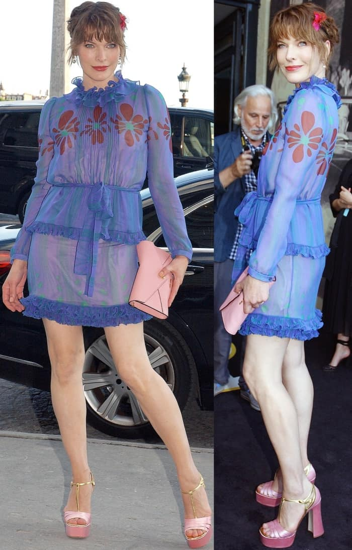 Milla Jovovich attending the Miu Miu Cruise 2018 fashion show during Paris Haute Couture Fashion Week