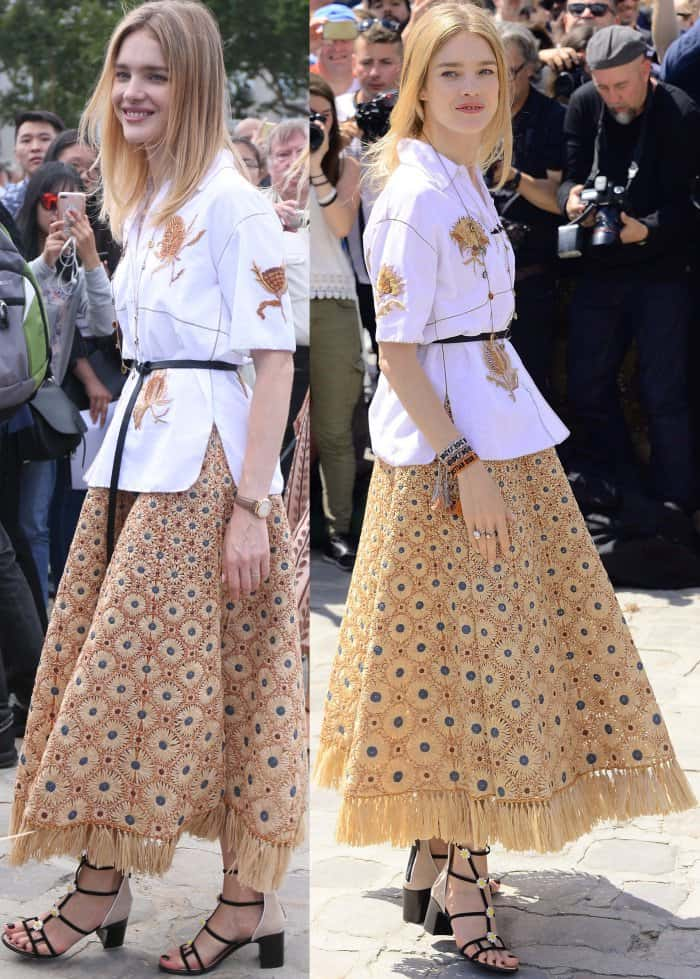 Natalia Vodianova at the Christian Dior Fall/Winter 2017 show during Paris Haute Couture Fashion Week