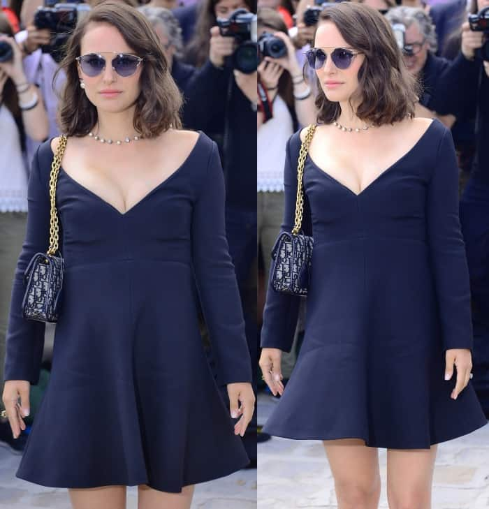 Natalie Portman at the Christian Dior Fall/Winter 2017 show during Paris Haute Couture Fashion Week