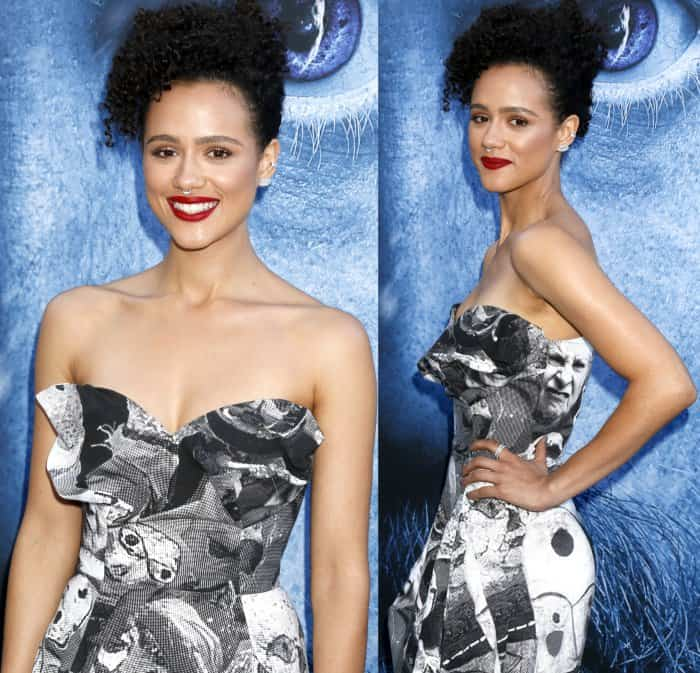 "Nathalie Emmanuel wearing a Vivienne Westwood dress and Sophia Webster ""Lilico"" sandals at the ""Game of Thrones"" season 7 premiere"