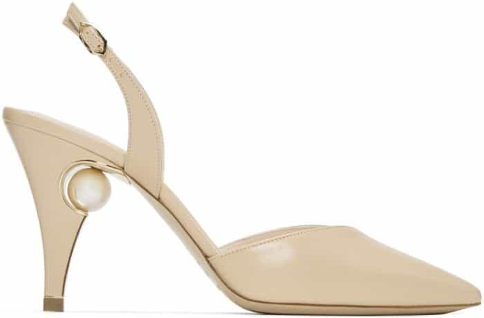 """Nicholas Kirkwood """"Penelope Pearl"""" slingback pumps in beige leather"""