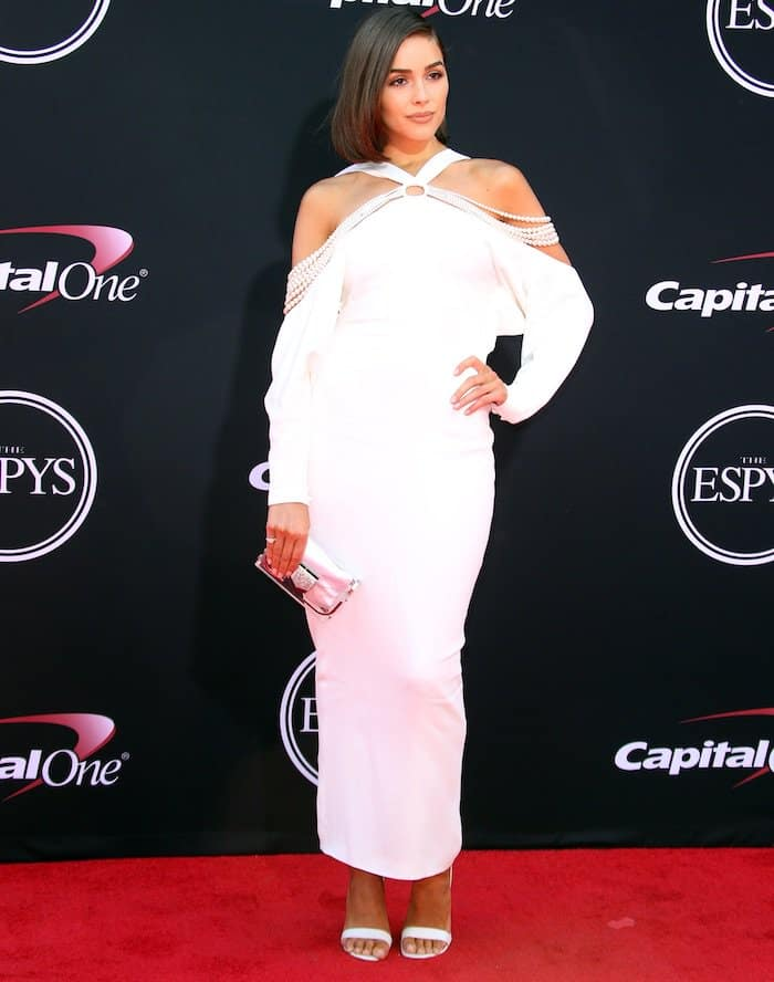 Olivia Culpo in a white off-shoulder Mario Dice creation for the 2017 ESPYs on July 12, 2017, held at the Microsoft Theatre, Los Angeles