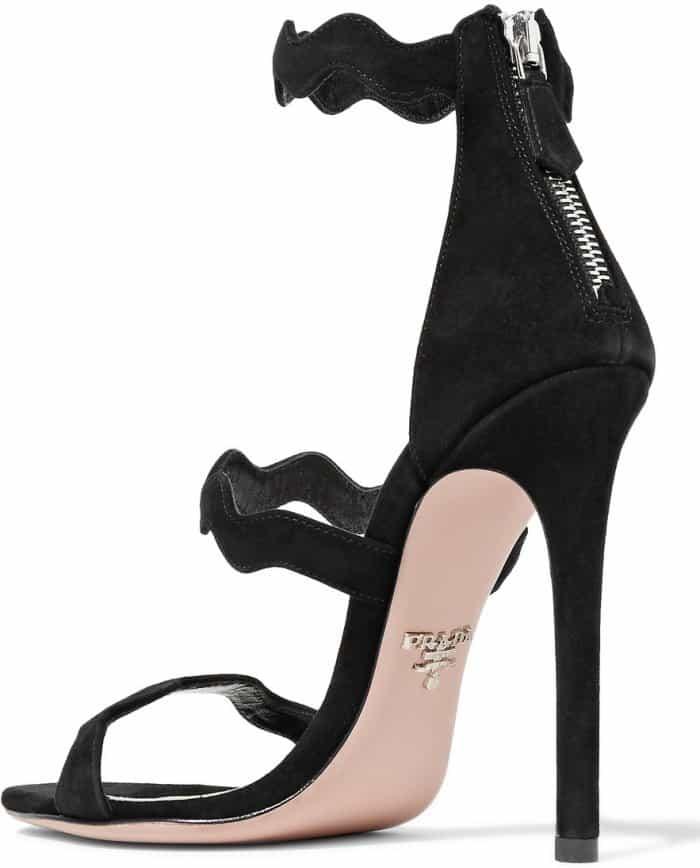 Prada scalloped sandals in black suede