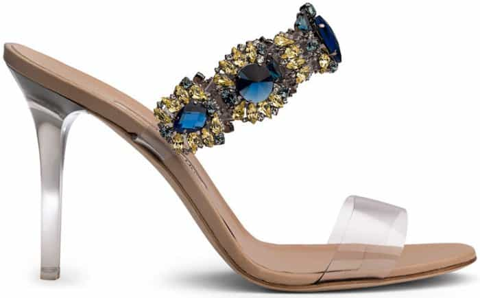 Rihanna x Manolo Blue Crystal and PVC Detail 'Bajan Princess' High Heel Mules