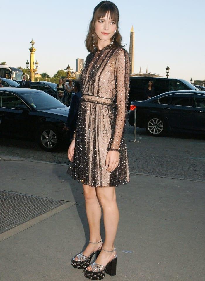 Stacy Martin attending the Miu Miu Cruise 2018 fashion show during Paris Haute Couture Fashion Week
