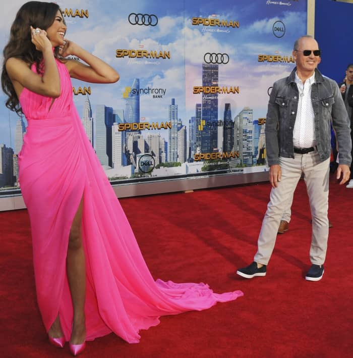 "Zendaya with Michael Keaton at the ""Spider-Man: Homecoming"" LA premiere"