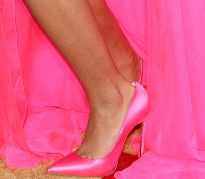"Zendaya in a pink Ralph & Russo Couture gown and pink Casadei ""Blade"" satin pumps at the ""Spider-Man: Homecoming"" LA premiere"