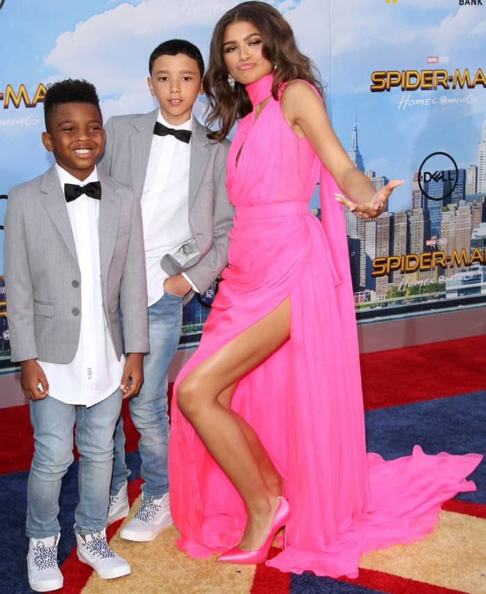 "Zendaya with her nephews at the ""Spider-Man: Homecoming"" LA premiere"