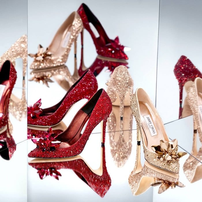 AVRIL crystal encrusted stilettos in red and gold
