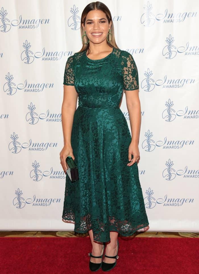 America Ferrera wearing Christian Louboutin's 'Booton' Mary Jane pumps