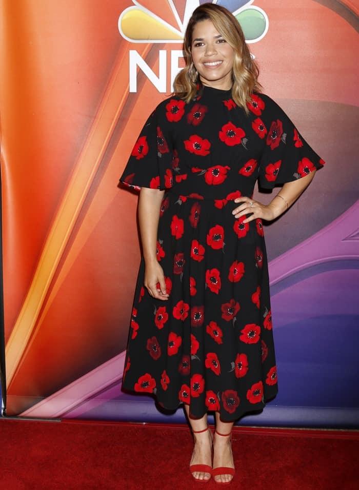America Ferrera wearing red 'Charline' heels from Giuseppe Zanotti