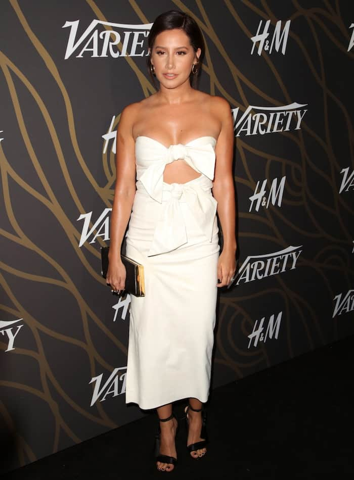 Ashley Tisdale in a white Milly Spring 2017 pencil dress
