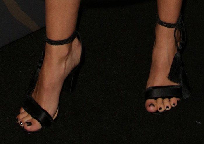 """Ashley Tisdale shows off her feet in Schutz """"Primm"""" tassel sandals"""