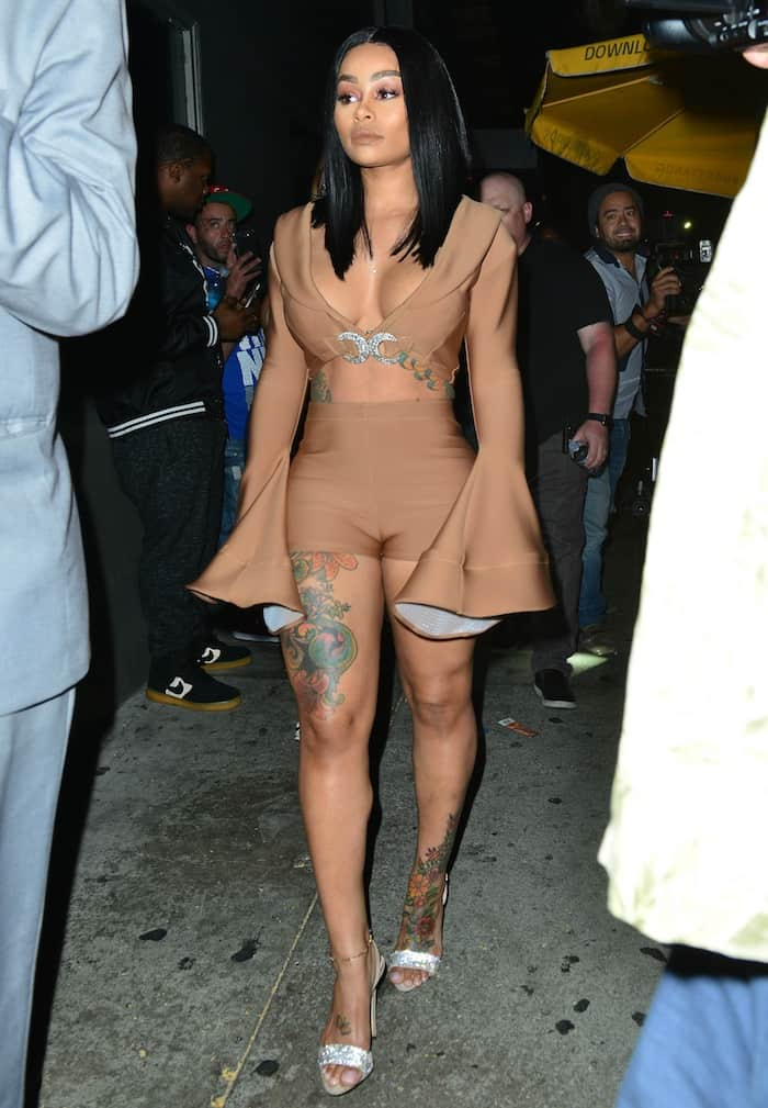 """Black Chyna chose nude shorts with a matching crop top and Giuseppe Zanotti """"Sophie"""" sandals for the event"""