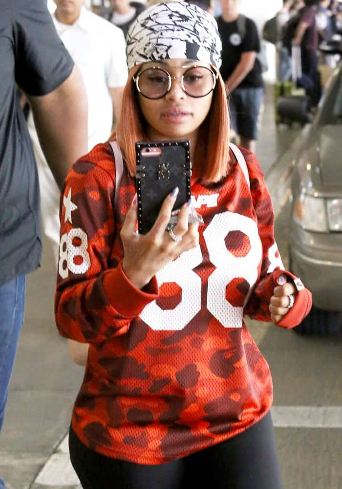 Blac Chyna arriving at Los Angeles International Airport (LAX) in Los Angeles, California on August 21, 2017