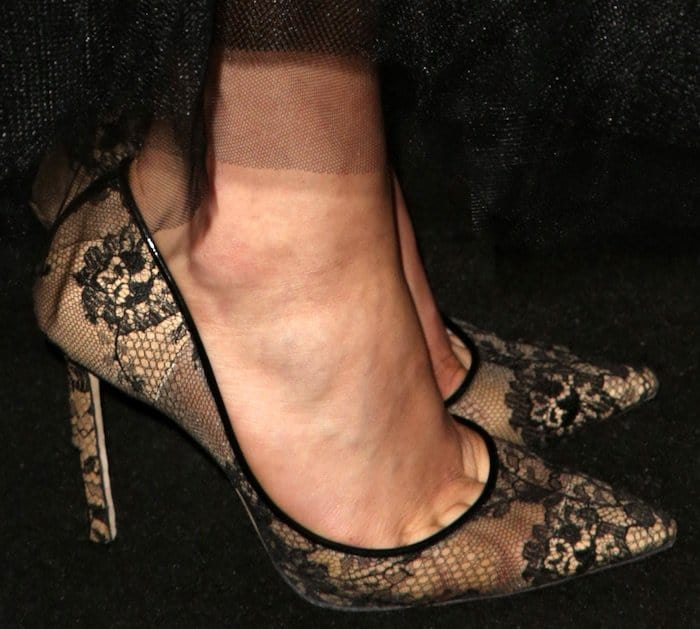 Chloe Moretz paired the designer creation with Jimmy Choo lace 'Romy' pumps